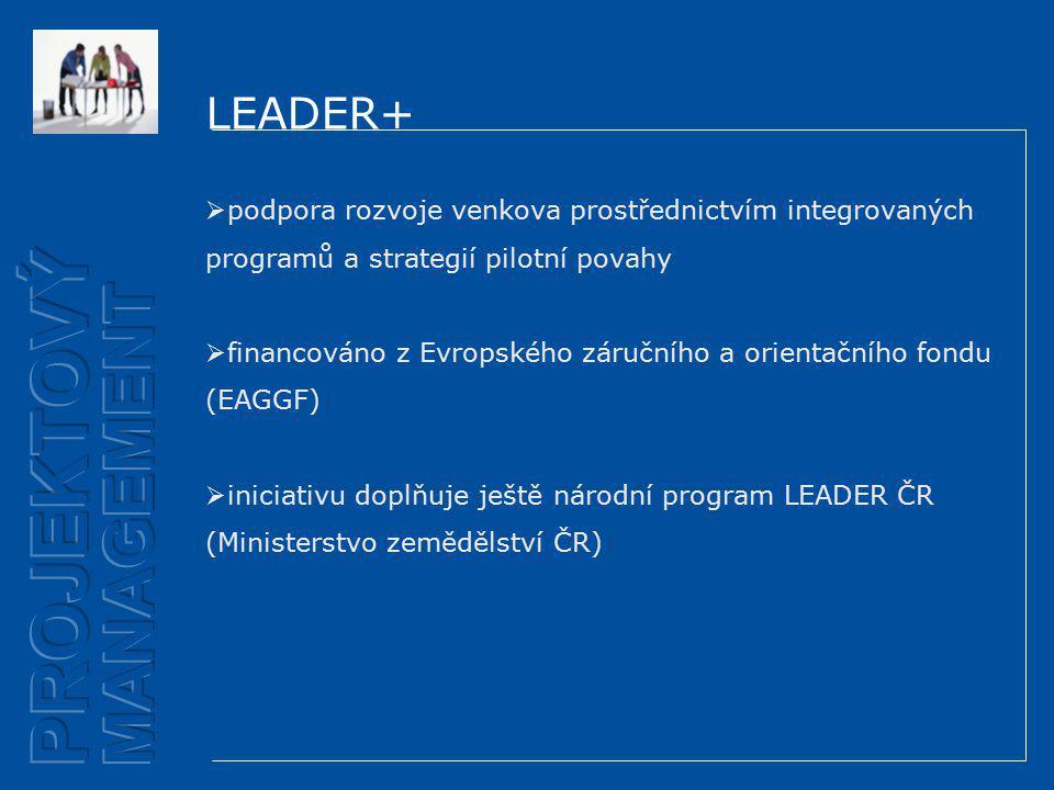 LEADER+  podpora rozvoje venkova prostřednictvím integrovaných programů a strategií pilotní povahy  financováno z Evropského záručního a orientačního fondu (EAGGF)  iniciativu doplňuje ještě národní program LEADER ČR (Ministerstvo zemědělství ČR)