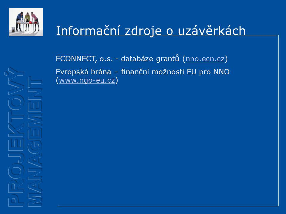 Informační zdroje o uzávěrkách ECONNECT, o.s.