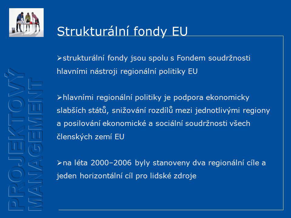 Strukturální fondy EU  strukturální fondy jsou spolu s Fondem soudržnosti hlavními nástroji regionální politiky EU  hlavními regionální politiky je podpora ekonomicky slabších států, snižování rozdílů mezi jednotlivými regiony a posilování ekonomické a sociální soudržnosti všech členských zemí EU  na léta 2000–2006 byly stanoveny dva regionální cíle a jeden horizontální cíl pro lidské zdroje