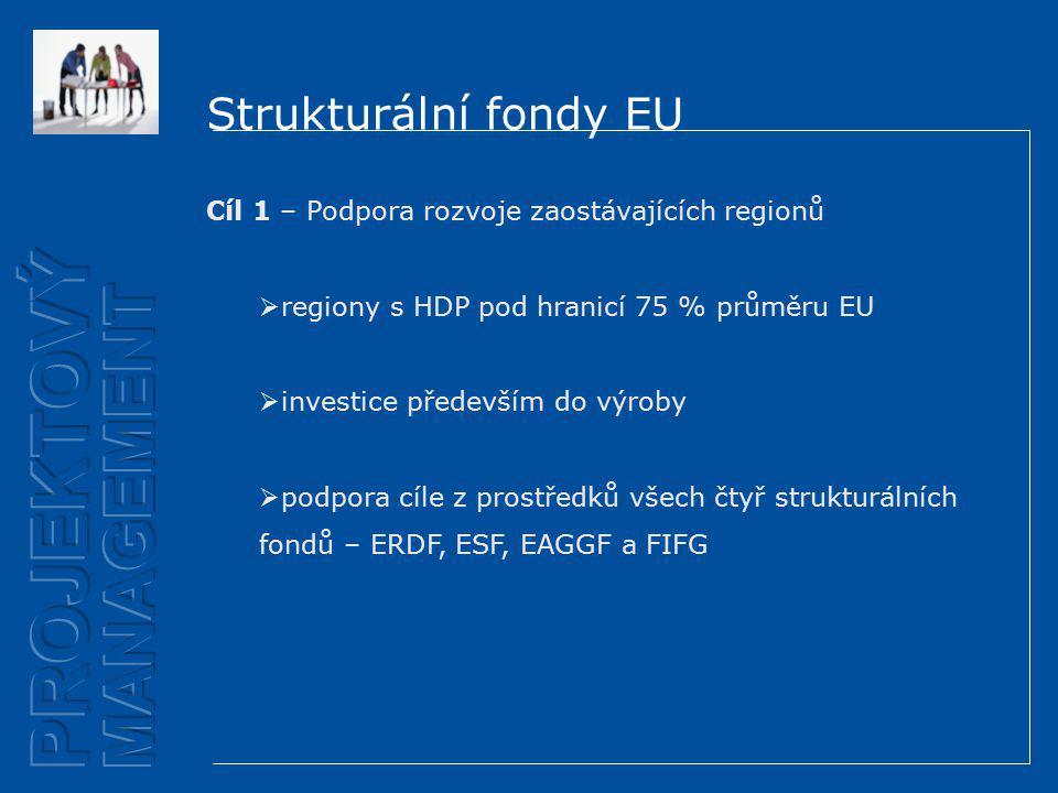 Strukturální fondy EU Cíl 1 – Podpora rozvoje zaostávajících regionů  regiony s HDP pod hranicí 75 % průměru EU  investice především do výroby  podpora cíle z prostředků všech čtyř strukturálních fondů – ERDF, ESF, EAGGF a FIFG