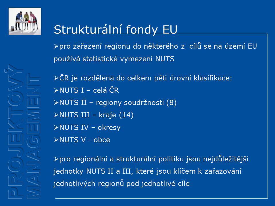 Strukturální fondy EU  pro zařazení regionu do některého z cílů se na území EU používá statistické vymezení NUTS  ČR je rozdělena do celkem pěti úrovní klasifikace:  NUTS I – celá ČR  NUTS II – regiony soudržnosti (8)  NUTS III – kraje (14)  NUTS IV – okresy  NUTS V - obce  pro regionální a strukturální politiku jsou nejdůležitější jednotky NUTS II a III, které jsou klíčem k zařazování jednotlivých regionů pod jednotlivé cíle