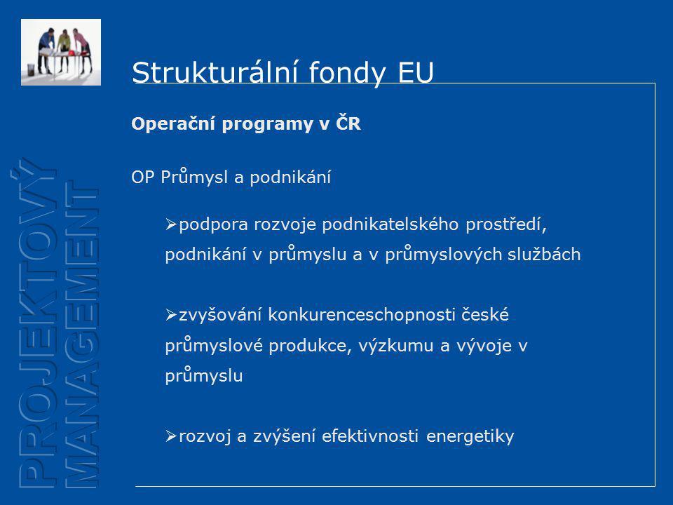 Strukturální fondy EU Operační programy v ČR OP Průmysl a podnikání  podpora rozvoje podnikatelského prostředí, podnikání v průmyslu a v průmyslových službách  zvyšování konkurenceschopnosti české průmyslové produkce, výzkumu a vývoje v průmyslu  rozvoj a zvýšení efektivnosti energetiky