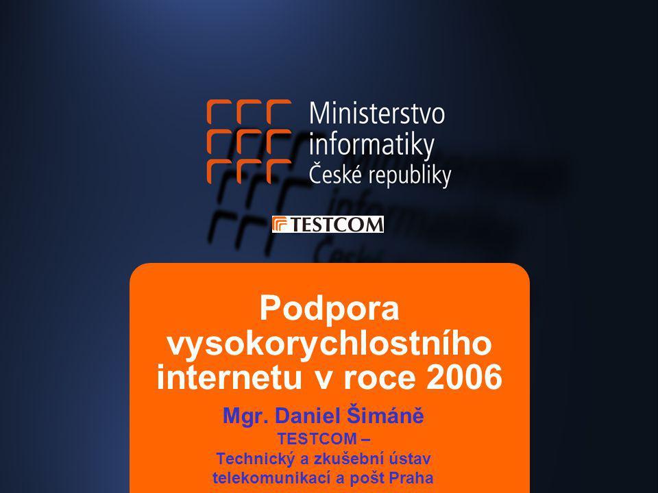 Podpora vysokorychlostního internetu v roce 2006 Mgr. Daniel Šimáně TESTCOM – Technický a zkušební ústav telekomunikací a pošt Praha