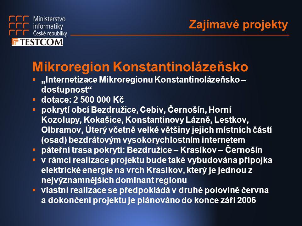 """Zajímavé projekty Mikroregion Konstantinolázeňsko  """"Internetizace Mikroregionu Konstantinolázeňsko – dostupnost""""  dotace: 2 500 000 Kč  pokrytí obc"""