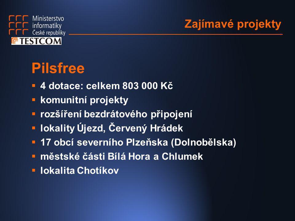 Zajímavé projekty Pilsfree  4 dotace: celkem 803 000 Kč  komunitní projekty  rozšíření bezdrátového připojení  lokality Újezd, Červený Hrádek  17