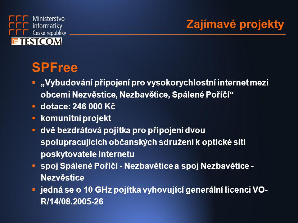 """Zajímavé projekty SPFree  """"Vybudování připojení pro vysokorychlostní internet mezi obcemi Nezvěstice, Nezbavětice, Spálené Poříčí""""  dotace: 246 000"""