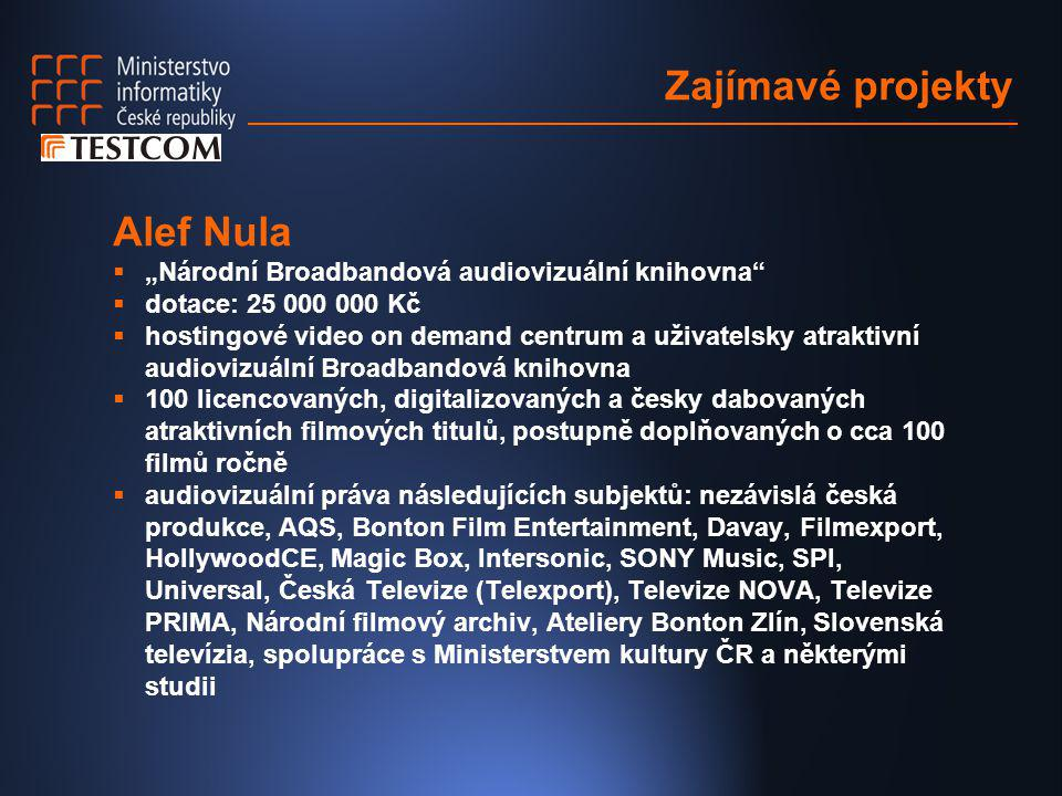 """Zajímavé projekty Alef Nula  """"Národní Broadbandová audiovizuální knihovna""""  dotace: 25 000 000 Kč  hostingové video on demand centrum a uživatelsky"""