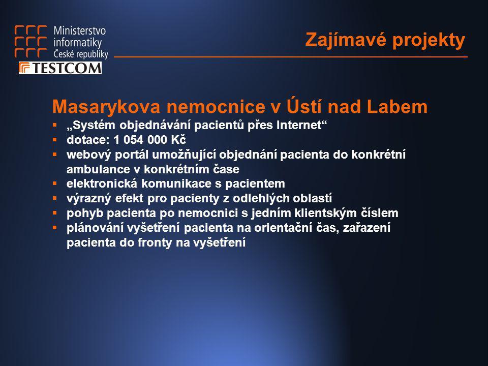 """Zajímavé projekty Masarykova nemocnice v Ústí nad Labem  """"Systém objednávání pacientů přes Internet""""  dotace: 1 054 000 Kč  webový portál umožňujíc"""