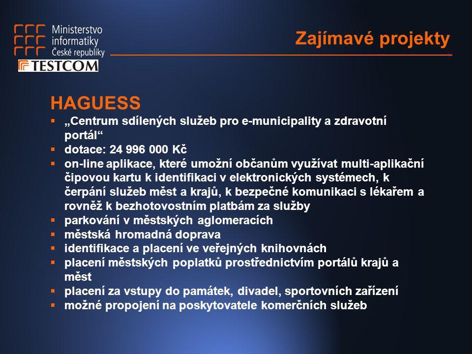 """Zajímavé projekty HAGUESS  """"Centrum sdílených služeb pro e-municipality a zdravotní portál""""  dotace: 24 996 000 Kč  on-line aplikace, které umožní"""