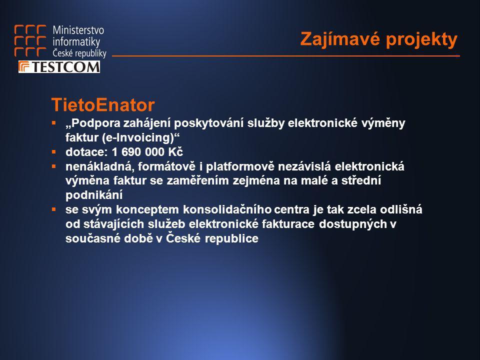 """Zajímavé projekty TietoEnator  """"Podpora zahájení poskytování služby elektronické výměny faktur (e-Invoicing)""""  dotace: 1 690 000 Kč  nenákladná, fo"""