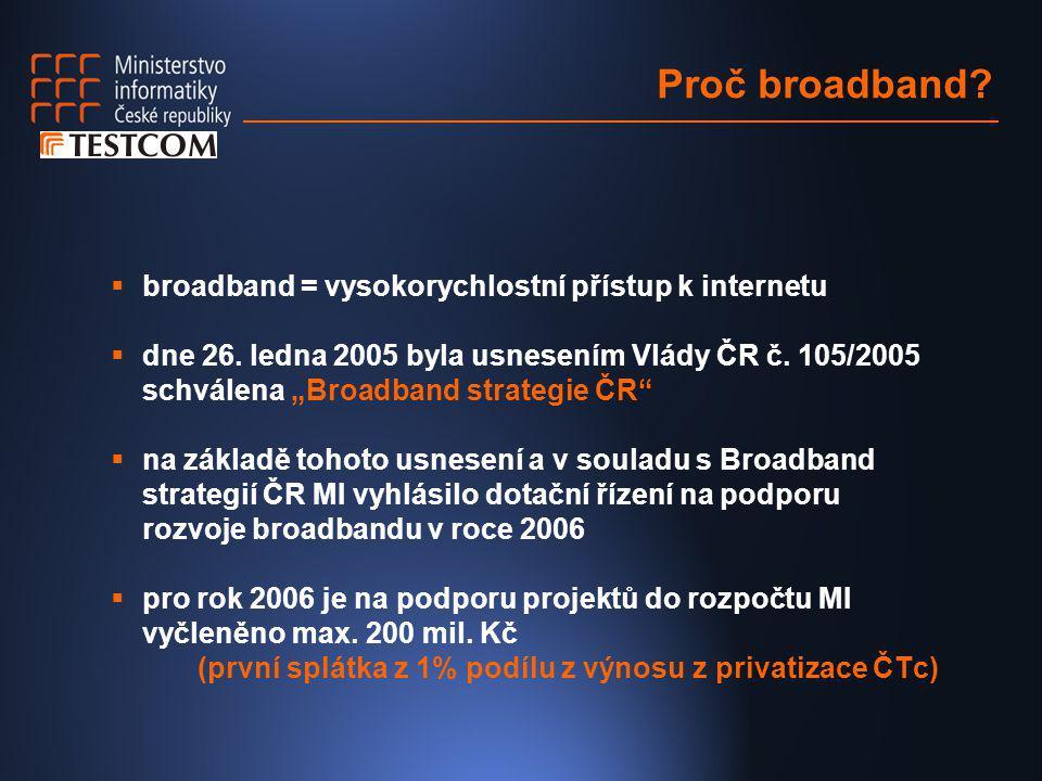 """Proč broadband?  broadband = vysokorychlostní přístup k internetu  dne 26. ledna 2005 byla usnesením Vlády ČR č. 105/2005 schválena """"Broadband strat"""
