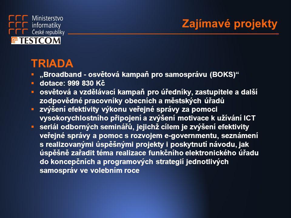 """Zajímavé projekty TRIADA  """"Broadband - osvětová kampaň pro samosprávu (BOKS)""""  dotace: 999 830 Kč  osvětová a vzdělávací kampaň pro úředníky, zastu"""