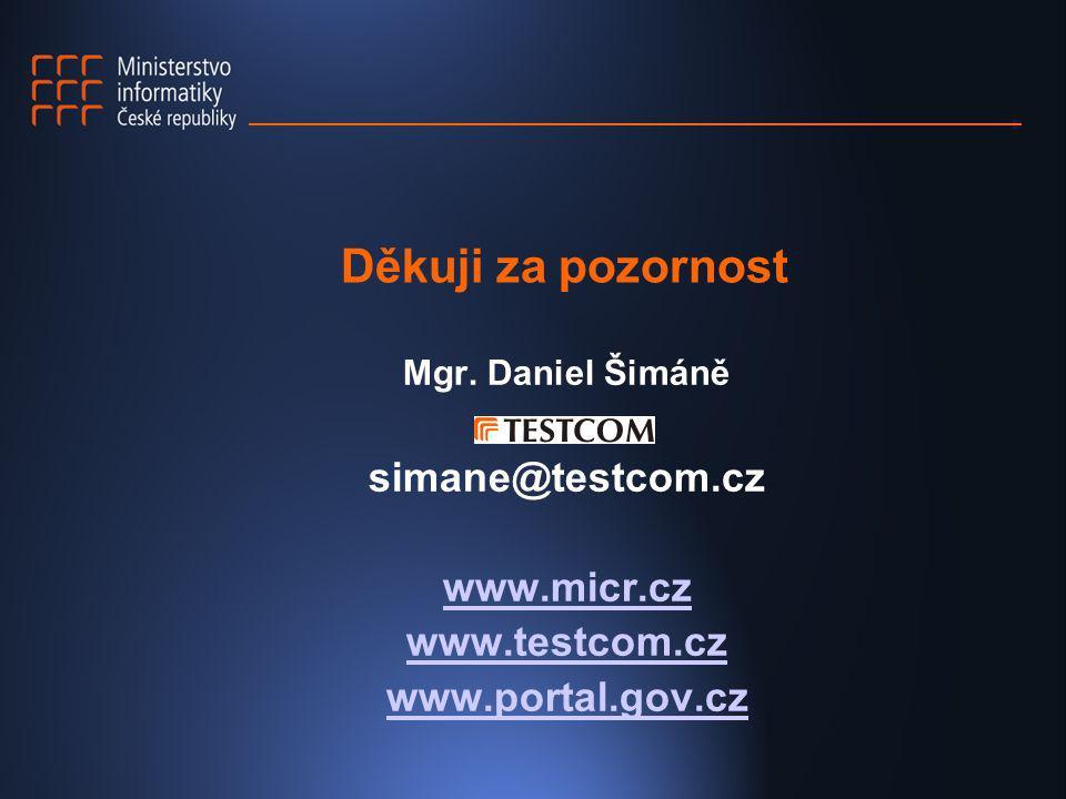 Děkuji za pozornost Mgr. Daniel Šimáně simane@testcom.cz www.micr.cz www.testcom.cz www.portal.gov.cz