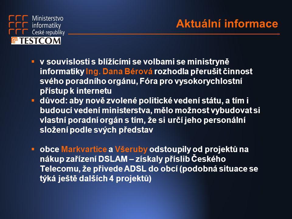 Aktuální informace  v souvislosti s blížícími se volbami se ministryně informatiky Ing. Dana Bérová rozhodla přerušit činnost svého poradního orgánu,