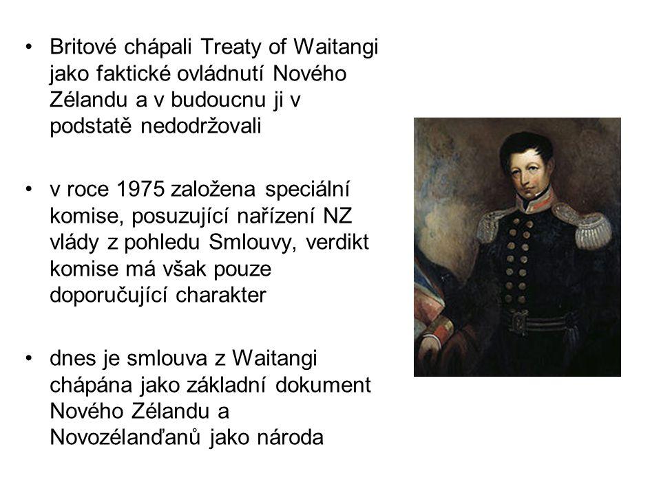 Britové chápali Treaty of Waitangi jako faktické ovládnutí Nového Zélandu a v budoucnu ji v podstatě nedodržovali v roce 1975 založena speciální komis