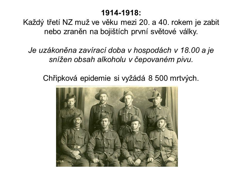 1914-1918: Každý třetí NZ muž ve věku mezi 20. a 40. rokem je zabit nebo zraněn na bojištích první světové války. Je uzákoněna zavírací doba v hospodá