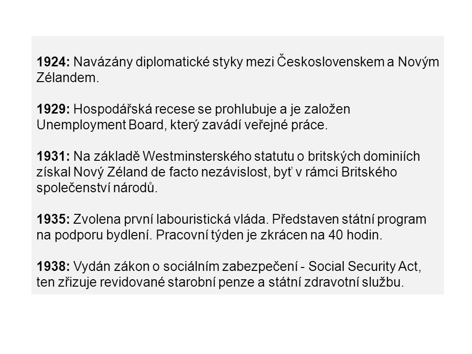 1924: Navázány diplomatické styky mezi Československem a Novým Zélandem. 1929: Hospodářská recese se prohlubuje a je založen Unemployment Board, který