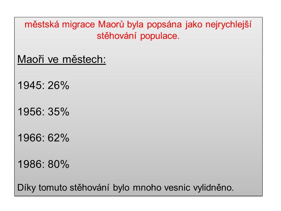 městská migrace Maorů byla popsána jako nejrychlejší stěhování populace. Maoři ve městech: 1945: 26% 1956: 35% 1966: 62% 1986: 80% Díky tomuto stěhová