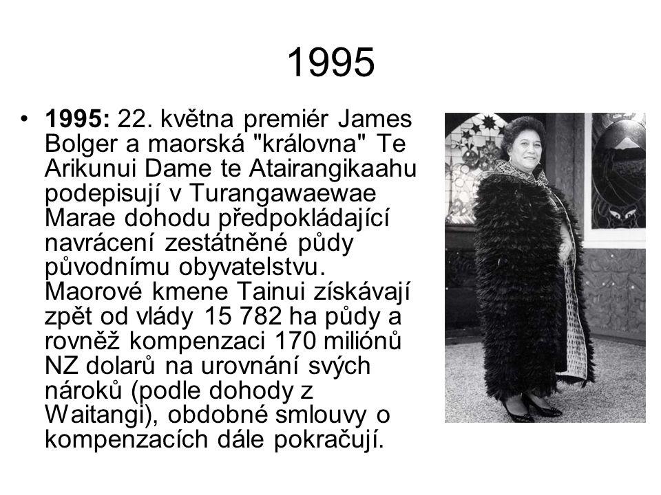 1995 1995: 22. května premiér James Bolger a maorská