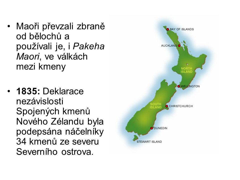 Maoři převzali zbraně od bělochů a používali je, i Pakeha Maori, ve válkách mezi kmeny 1835: Deklarace nezávislosti Spojených kmenů Nového Zélandu byl
