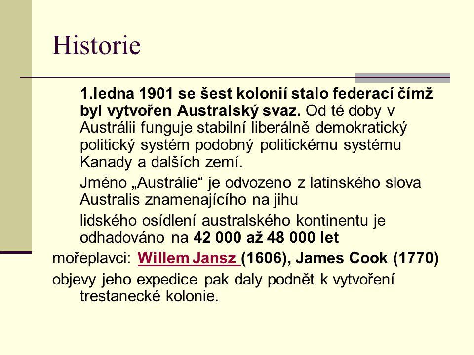 Historie 1.ledna 1901 se šest kolonií stalo federací čímž byl vytvořen Australský svaz. Od té doby v Austrálii funguje stabilní liberálně demokratický