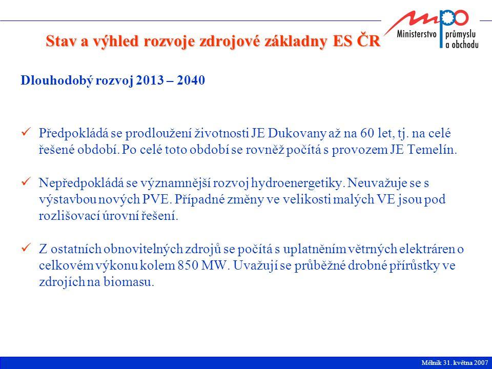 Dlouhodobý rozvoj 2013 – 2040 Předpokládá se prodloužení životnosti JE Dukovany až na 60 let, tj. na celé řešené období. Po celé toto období se rovněž