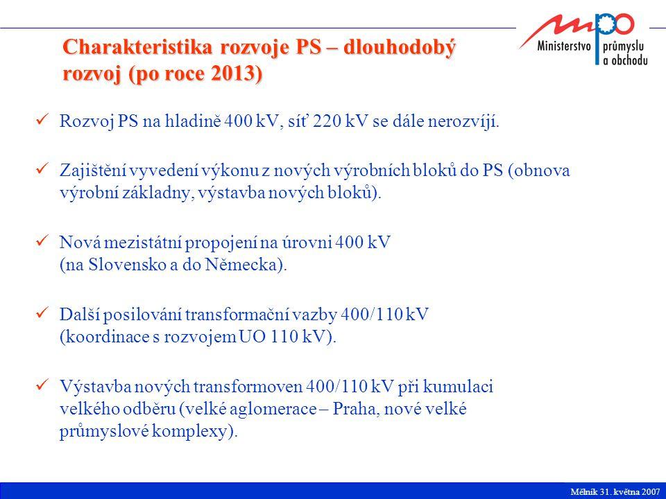 Rozvoj PS na hladině 400 kV, síť 220 kV se dále nerozvíjí. Zajištění vyvedení výkonu z nových výrobních bloků do PS (obnova výrobní základny, výstavba