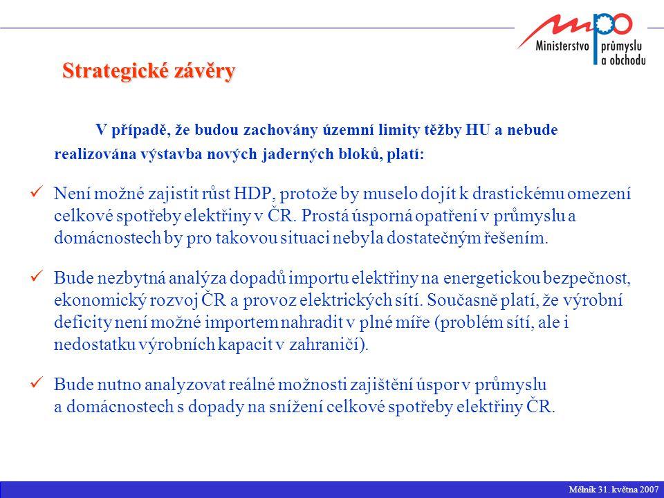 V případě, že budou zachovány územní limity těžby HU a nebude realizována výstavba nových jaderných bloků, platí: Není možné zajistit růst HDP, protože by muselo dojít k drastickému omezení celkové spotřeby elektřiny v ČR.