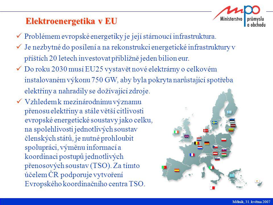 Elektroenergetika v EU Problémem evropské energetiky je její stárnoucí infrastruktura. Je nezbytné do posílení a na rekonstrukci energetické infrastru