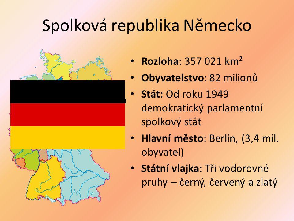 Spolková republika Německo Rozloha: 357 021 km² Obyvatelstvo: 82 milionů Stát: Od roku 1949 demokratický parlamentní spolkový stát Hlavní město: Berlí