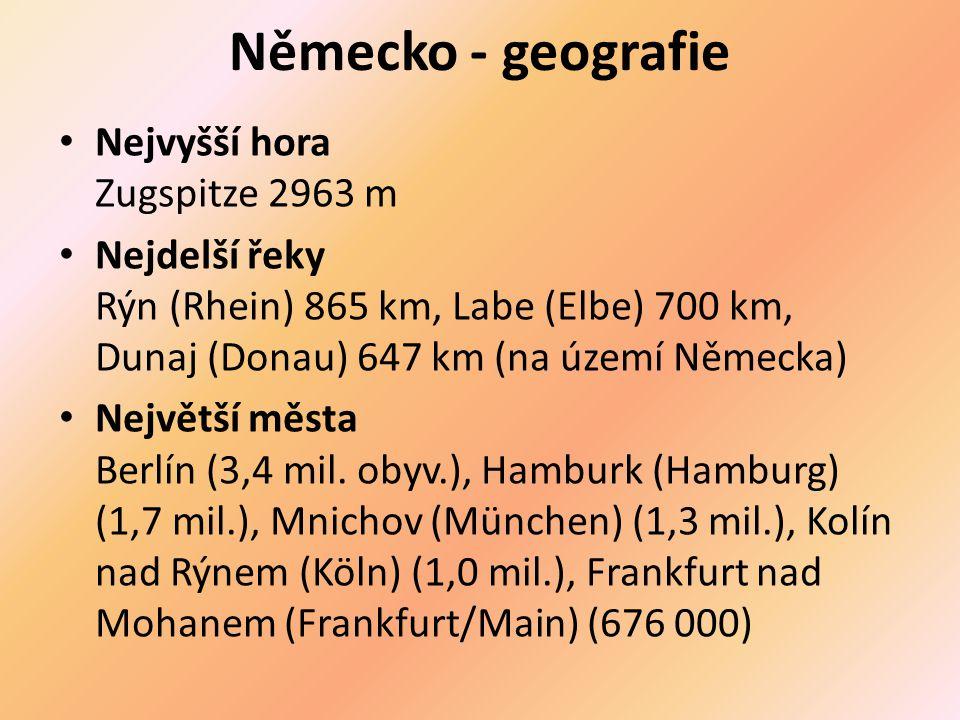 Povrch – Severoněmecká nížina, středoněmecké vrchoviny, JV středohoří, Alpské podhůří a Bavorské Alpy.