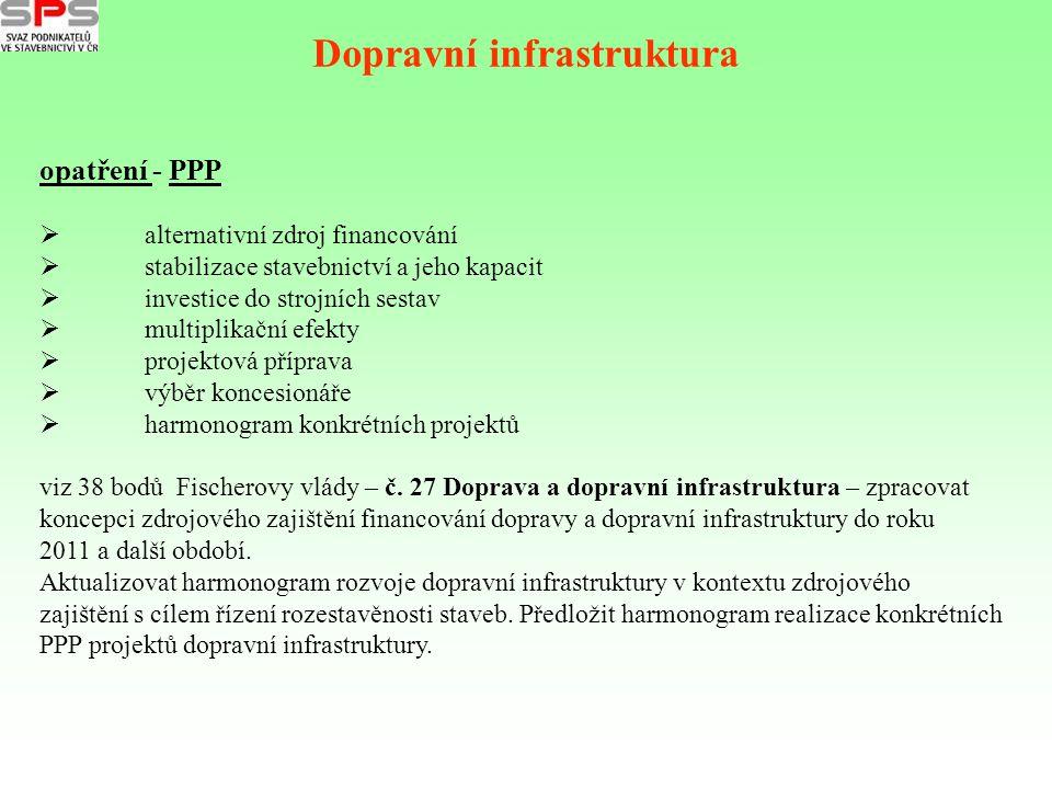 Dopravní infrastruktura opatření - PPP  alternativní zdroj financování  stabilizace stavebnictví a jeho kapacit  investice do strojních sestav  mu
