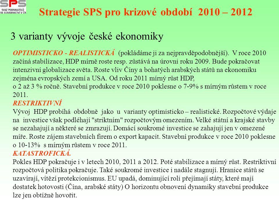 3 varianty vývoje české ekonomiky Strategie SPS pro krizové období 2010 – 2012 OPTIMISTICKO - REALISTICKÁ (pokládáme ji za nejpravděpodobnější). V roc