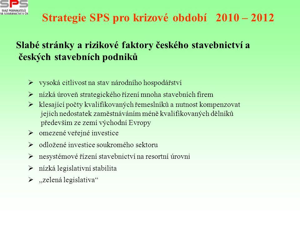 Strategie SPS pro krizové období 2010 – 2012 Slabé stránky a rizikové faktory českého stavebnictví a českých stavebních podniků  vysoká citlivost na