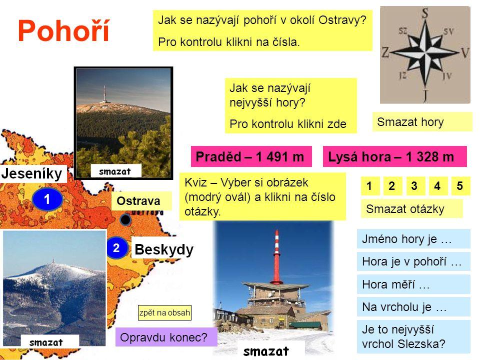 Pohoří 1 2 Jak se nazývají pohoří v okolí Ostravy? Pro kontrolu klikni na čísla. Jak se nazývají nejvyšší hory? Pro kontrolu klikni zde Praděd – 1 491