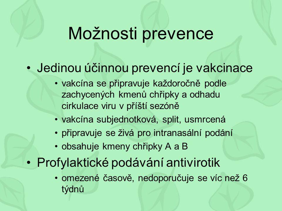 Možnosti prevence Jedinou účinnou prevencí je vakcinace vakcína se připravuje každoročně podle zachycených kmenů chřipky a odhadu cirkulace viru v příští sezóně vakcína subjednotková, split, usmrcená připravuje se živá pro intranasální podání obsahuje kmeny chřipky A a B Profylaktické podávání antivirotik omezené časově, nedoporučuje se víc než 6 týdnů
