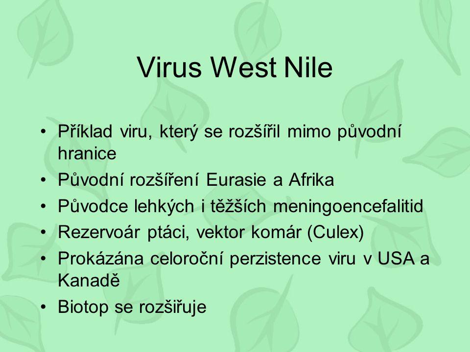 Virus West Nile Příklad viru, který se rozšířil mimo původní hranice Původní rozšíření Eurasie a Afrika Původce lehkých i těžších meningoencefalitid Rezervoár ptáci, vektor komár (Culex) Prokázána celoroční perzistence viru v USA a Kanadě Biotop se rozšiřuje