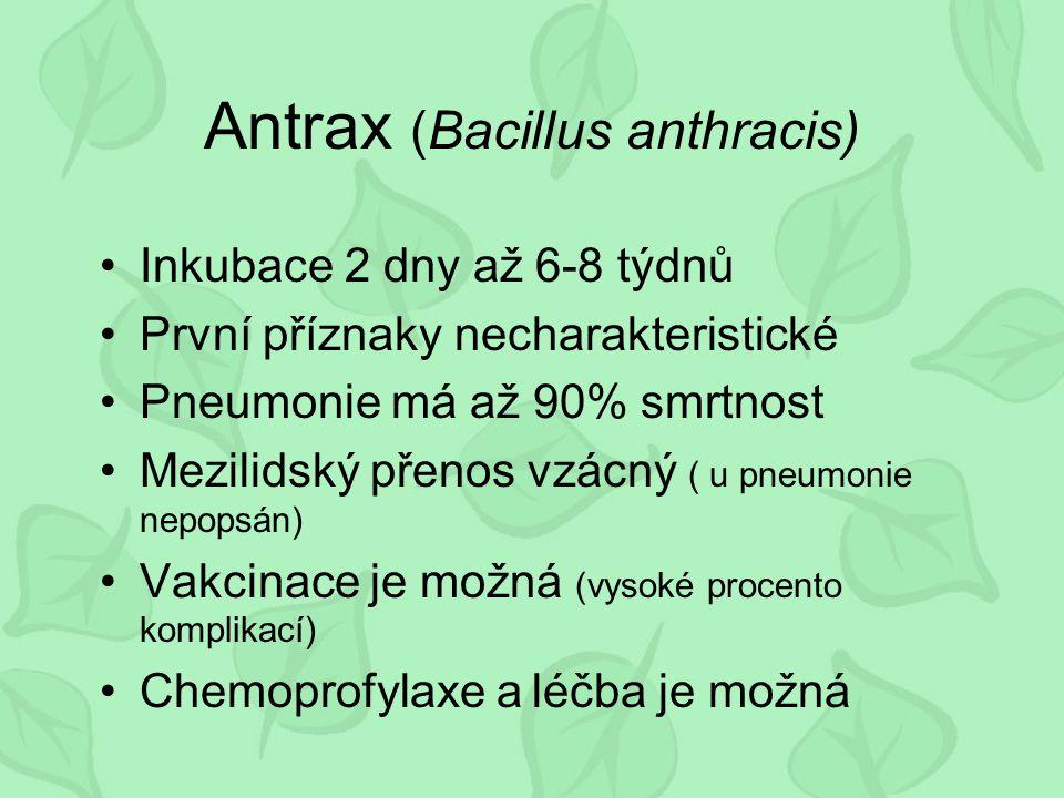 Antrax (Bacillus anthracis) Inkubace 2 dny až 6-8 týdnů První příznaky necharakteristické Pneumonie má až 90% smrtnost Mezilidský přenos vzácný ( u pneumonie nepopsán) Vakcinace je možná (vysoké procento komplikací) Chemoprofylaxe a léčba je možná