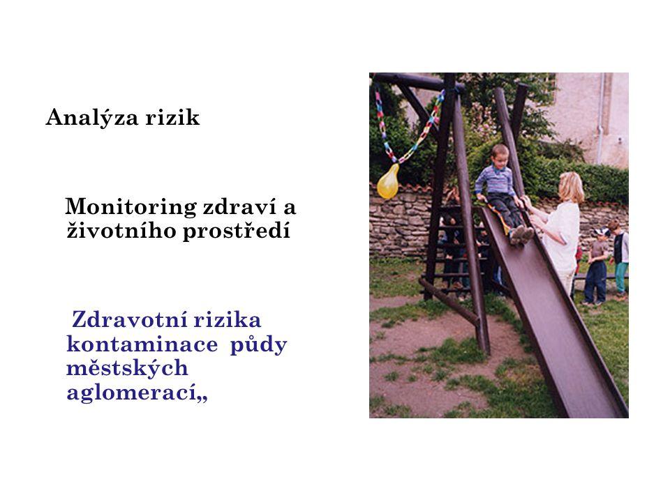 """Analýza rizik Monitoring zdraví a životního prostředí Zdravotní rizika kontaminace půdy městských aglomerací"""""""