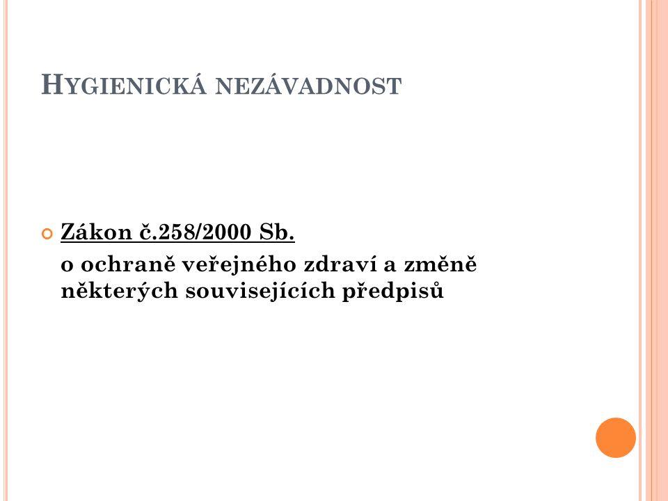 H YGIENICKÁ NEZÁVADNOST Zákon č.258/2000 Sb.