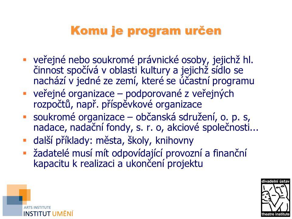 Komu je program určen  veřejné nebo soukromé právnické osoby, jejichž hl.