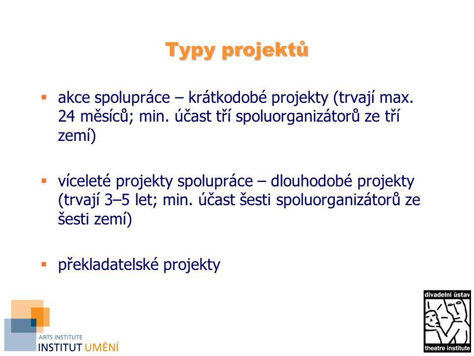 Typy projektů  akce spolupráce – krátkodobé projekty (trvají max.