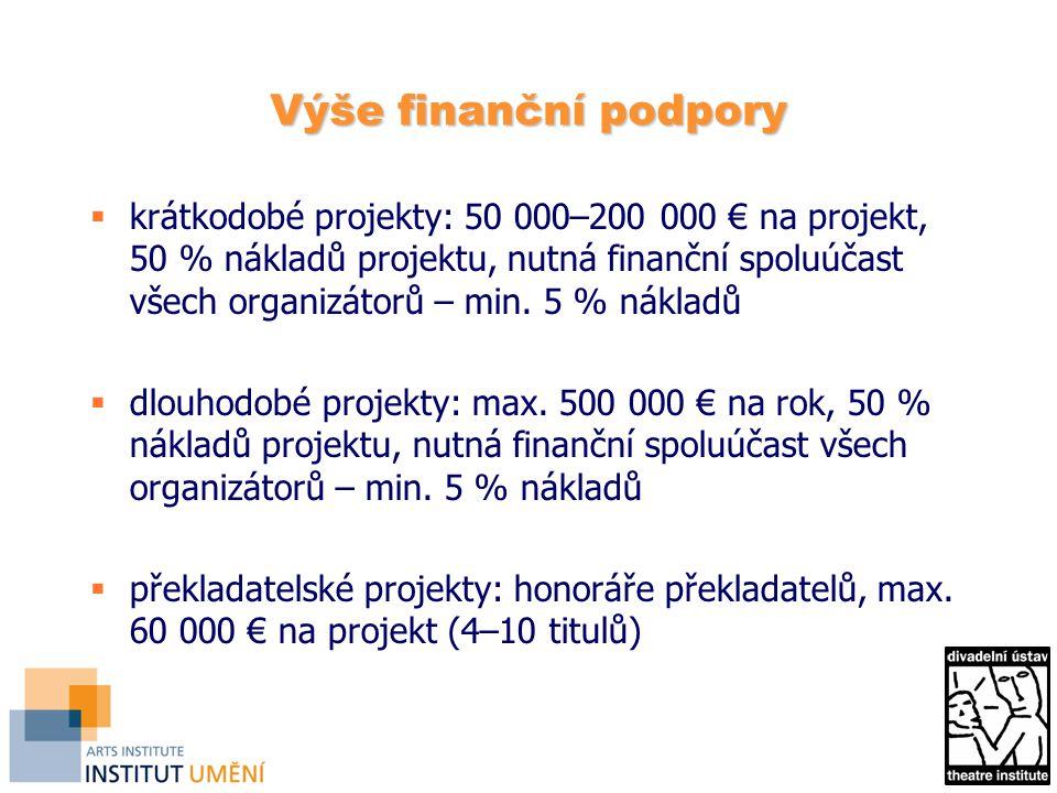 Výše finanční podpory  krátkodobé projekty: 50 000–200 000 € na projekt, 50 % nákladů projektu, nutná finanční spoluúčast všech organizátorů – min.