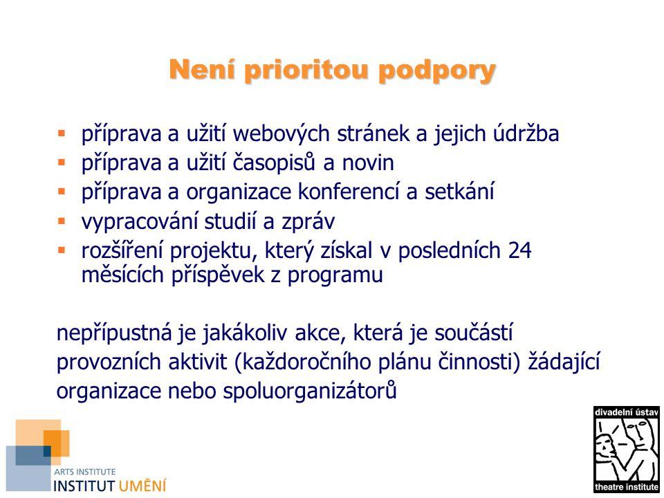 Není prioritou podpory  příprava a užití webových stránek a jejich údržba  příprava a užití časopisů a novin  příprava a organizace konferencí a setkání  vypracování studií a zpráv  rozšíření projektu, který získal v posledních 24 měsících příspěvek z programu nepřípustná je jakákoliv akce, která je součástí provozních aktivit (každoročního plánu činnosti) žádající organizace nebo spoluorganizátorů