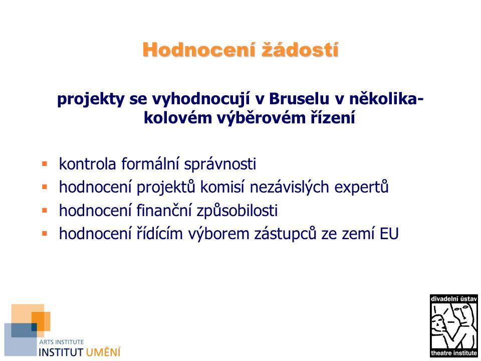 Hodnocení žádostí projekty se vyhodnocují v Bruselu v několika- kolovém výběrovém řízení  kontrola formální správnosti  hodnocení projektů komisí nezávislých expertů  hodnocení finanční způsobilosti  hodnocení řídícím výborem zástupců ze zemí EU