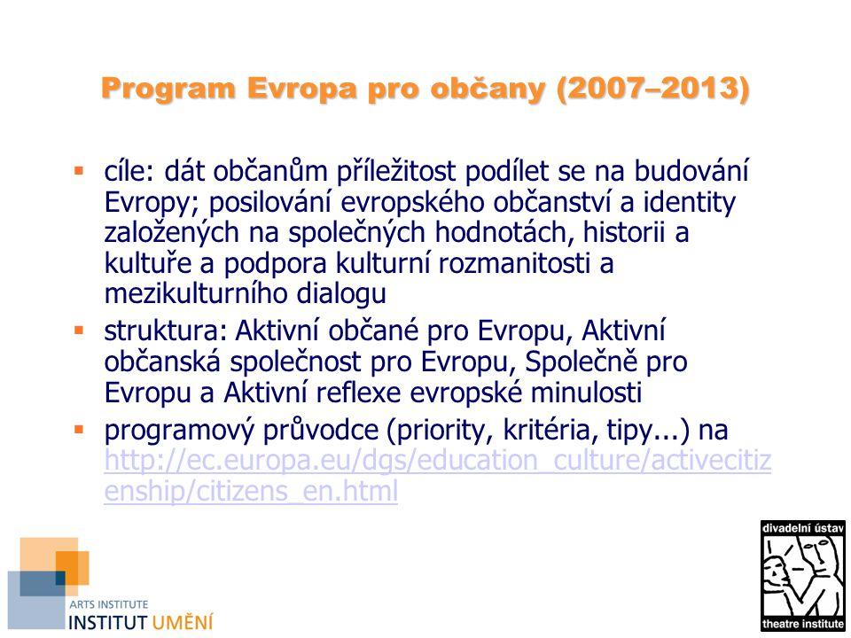 Program Evropa pro občany (2007–2013)  cíle: dát občanům příležitost podílet se na budování Evropy; posilování evropského občanství a identity založených na společných hodnotách, historii a kultuře a podpora kulturní rozmanitosti a mezikulturního dialogu  struktura: Aktivní občané pro Evropu, Aktivní občanská společnost pro Evropu, Společně pro Evropu a Aktivní reflexe evropské minulosti  programový průvodce (priority, kritéria, tipy...) na http://ec.europa.eu/dgs/education_culture/activecitiz enship/citizens_en.html http://ec.europa.eu/dgs/education_culture/activecitiz enship/citizens_en.html