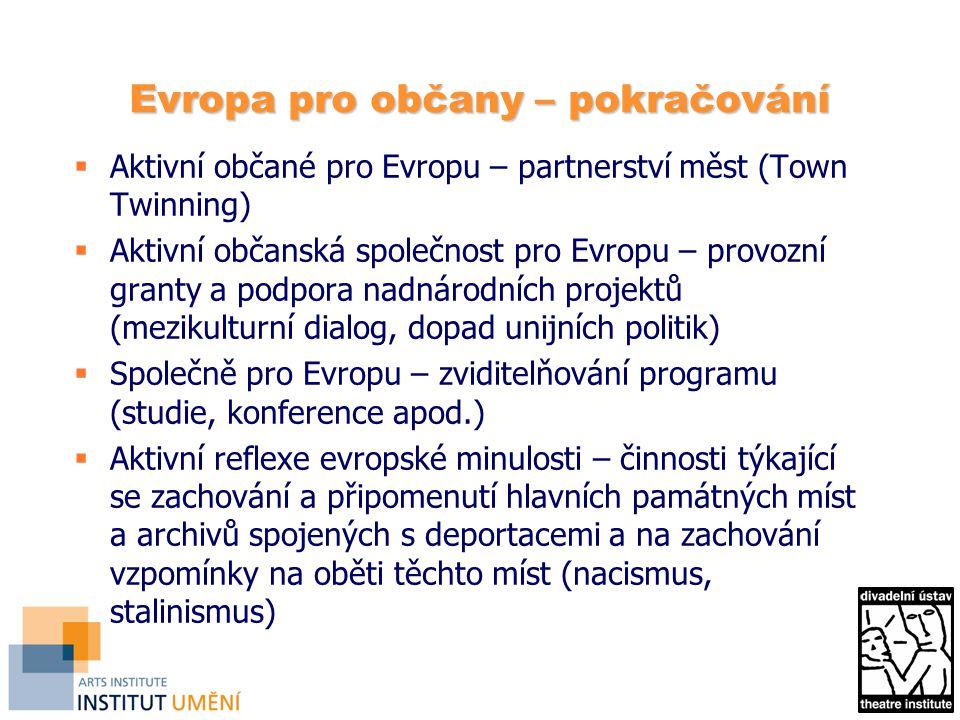 Evropa pro občany – pokračování  Aktivní občané pro Evropu – partnerství měst (Town Twinning)  Aktivní občanská společnost pro Evropu – provozní granty a podpora nadnárodních projektů (mezikulturní dialog, dopad unijních politik)  Společně pro Evropu – zviditelňování programu (studie, konference apod.)  Aktivní reflexe evropské minulosti – činnosti týkající se zachování a připomenutí hlavních památných míst a archivů spojených s deportacemi a na zachování vzpomínky na oběti těchto míst (nacismus, stalinismus)