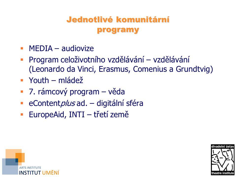 Jednotlivé komunitární programy  MEDIA – audiovize  Program celoživotního vzdělávání – vzdělávání (Leonardo da Vinci, Erasmus, Comenius a Grundtvig)  Youth – mládež  7.