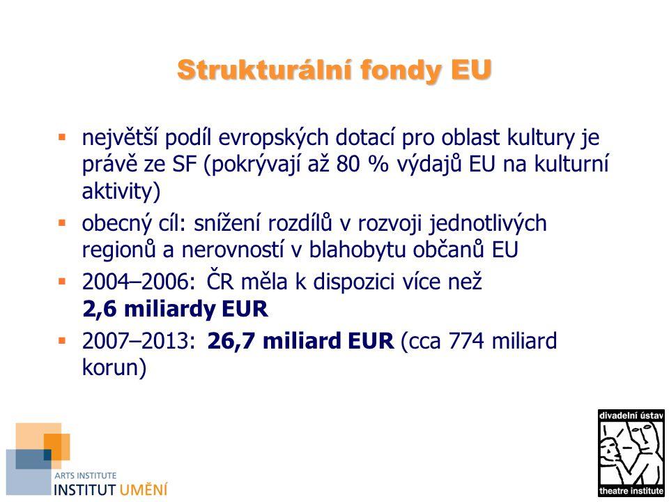 Strukturální fondy EU  největší podíl evropských dotací pro oblast kultury je právě ze SF (pokrývají až 80 % výdajů EU na kulturní aktivity)  obecný cíl: snížení rozdílů v rozvoji jednotlivých regionů a nerovností v blahobytu občanů EU  2004–2006: ČR měla k dispozici více než 2,6 miliardy EUR  2007–2013: 26,7 miliard EUR (cca 774 miliard korun)