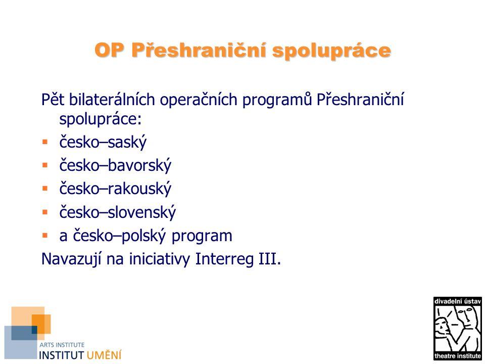 OP Přeshraniční spolupráce Pět bilaterálních operačních programů Přeshraniční spolupráce:  česko–saský  česko–bavorský  česko–rakouský  česko–slovenský  a česko–polský program Navazují na iniciativy Interreg III.
